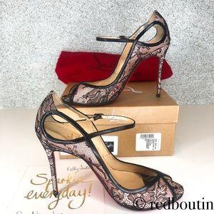 Christian Louboutin Shoes - Louboutin 100mm satin & Chantilly Lace opentoe 36